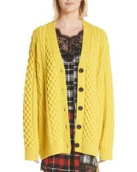 Marc Jacobs - Oversize Cable Knit Merino Wool Cardigan - Lyst