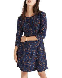 Madewell - Boat Neck Pintuck Silk Dress - Lyst