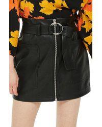 TOPSHOP - Front Zip Faux Leather Miniskirt - Lyst