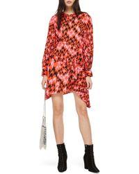 TOPSHOP - Houndstooth Asymmetrical Sheath Dress - Lyst