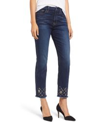 7 For All Mankind - Embellished Ankle Straight Leg Jeans - Lyst
