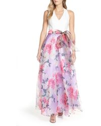 27e12d061a Eliza J Floral Taffeta Ruffle Skirt in Black - Lyst