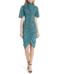 Diane von Furstenberg - Floral Ruched Flutter Sleeve High Neck Dress - Lyst