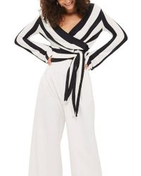 TOPSHOP - Stripe Knit Wrap Top - Lyst