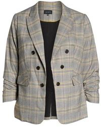 1.STATE - Menswear Plaid Ruched Sleeve Blazer - Lyst