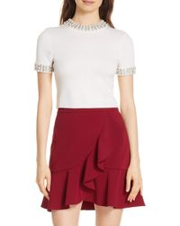 Alice + Olivia - Embellished Crop Sweater - Lyst