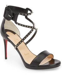 10956d7a24fb Lyst - Christian Louboutin Alarc Spiked Strappy Mesh Sandals in Metallic