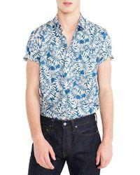 J.Crew - J.crew Secret Wash Short Sleeve Fern Print Sport Shirt - Lyst