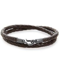 Caputo & Co. - Braided Leather Double Wrap Bracelet - Lyst