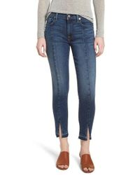 7 For All Mankind - 7 For All Mankind Front Seam Slit Released Hem Ankle Skinny Jeans - Lyst