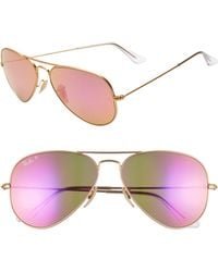 f3d8f2a0047 Ray-Ban - Standard Icons 58mm Mirrored Polarized Aviator Sunglasses - Lyst