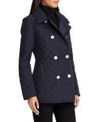 Lauren by Ralph Lauren - Double Breasted Quilted Coat - Lyst