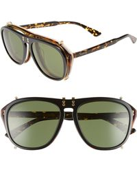 3005ae787b3 Lyst - Gucci Pilot 56mm Flip-up Sunglasses - in Green for Men