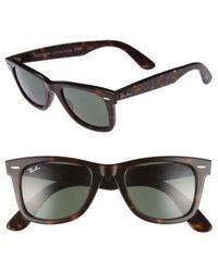 Ray-Ban - 'classic Wayfarer' 50mm Sunglasses - Dark Tortoise/ Green - Lyst