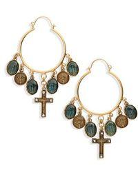 Virgins, Saints & Angels - Les Celestes Charm Hoop Earrings - Lyst