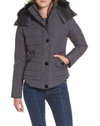 Maralyn & Me - Faux Fur Trim Hooded Puffer Jacket - Lyst