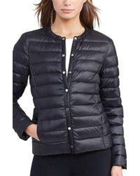 Lauren by Ralph Lauren   Packable Quilted Collarless Down Jacket, Black   Lyst