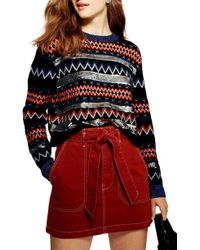 TOPSHOP - Sequin Stripe Fair Isle Sweater - Lyst
