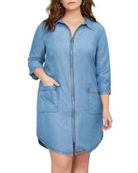 Addition Elle - Zip Front Chambray Dress - Lyst