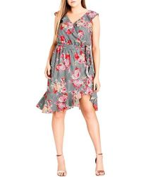 City Chic - Rose Picnic Ruffle Wrap Dress - Lyst
