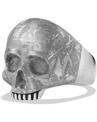 David Yurman - 'skull' Ring With Carved Meteorite - Lyst