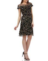 Carmen Marc Valvo - Sequin Floral Print Illusion Jewel Neck A-line Dress - Lyst