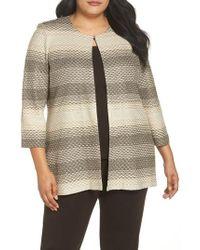 Ming Wang - Plus Size Striped-honeycomb Jewel Neck Jacket - Lyst