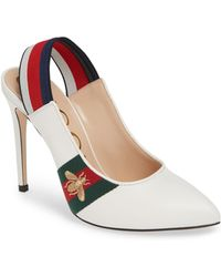 bca4c3634ea Lyst - Gucci Queen Margaret Bee Bow Pointy Toe Pump in Black