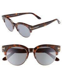 Tom Ford - Henri 52mm Semi-rimless Sunglasses - Havana/ Rose Gold/ Blue - Lyst