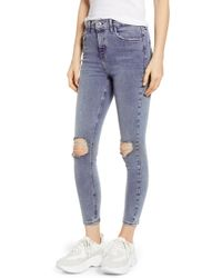 TOPSHOP - Jamie Ripped Skinny Jeans - Lyst