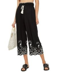TOPSHOP - Embroidered Crop Wide Trousers - Lyst