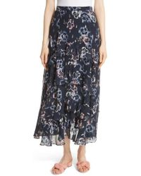 Rebecca Taylor - Faded Floral Midi Skirt - Lyst
