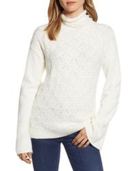 e0b8ff5fd24b Lucky Brand - Pointelle Front Turtleneck Sweater - Lyst