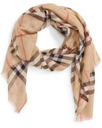 Burberry - Giant Check Scarf - Lyst