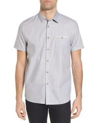 Ted Baker - Wonky Trim Fit Oxford Sport Shirt - Lyst