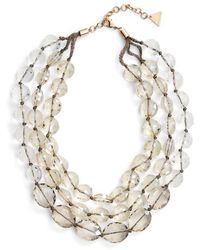 Serefina - Triple Strand Crystal Statement Necklace - Lyst