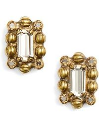 Sorrelli - Crystal & Ball Chain Stud Earrings - Lyst