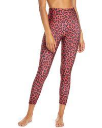 Onzie High Basic Midi Leopard Leggings - Red