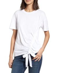 Stateside - Ruched Brushed Cotton Tee - Lyst