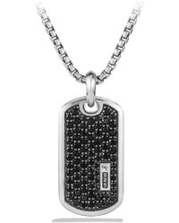 David Yurman - Pavé Enhancer Black Diamond Dog Tag Necklace - Lyst