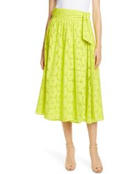 5ca36945d9 Self-Portrait Asymmetric Button Lace Underlay Broderie Anglaise Mini Skirt  in Green - Lyst