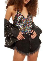 TOPSHOP - Rainbow Sequin Bodysuit - Lyst