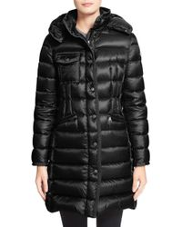Moncler - 'Hermine' Grosgrain Trim Down Coat - Lyst