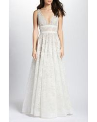 Bronx and Banco - Emily Floral Tulle A-line Gown - Lyst