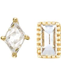 Sethi Couture - Baguette Marquis Diamond Mismatched Stud Earrings - Lyst