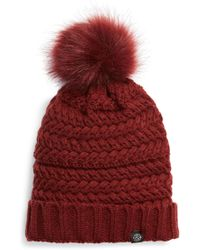 Treasure & Bond - Cable Knit Beanie With Faux Fur Pom - Lyst