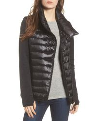 Marc New York - Knit Sleeve Packable Puffer Jacket, Black - Lyst
