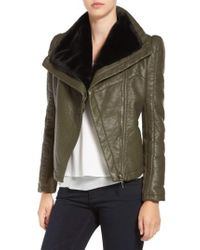 Love Token | Faux Leather Jacket With Faux Shearling Trim | Lyst