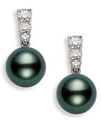 Mikimoto | 'morning Dew' Black South Sea Cultured Pearl & Diamond Earrings | Lyst