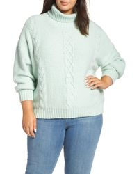 BP. - Cozy Cable Knit Turtleneck Sweater - Lyst